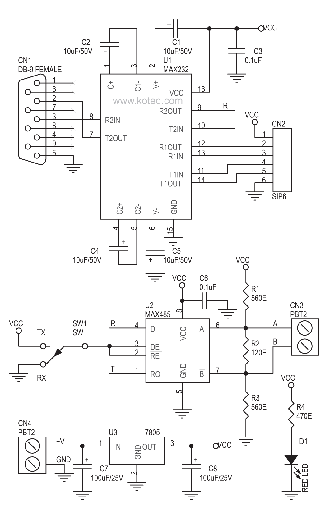 hight resolution of rs232 to rs485 converter board using max232 max485 circuit ideas rs232 to rs485 circuit diagram rs232 to rs485 circuit diagram