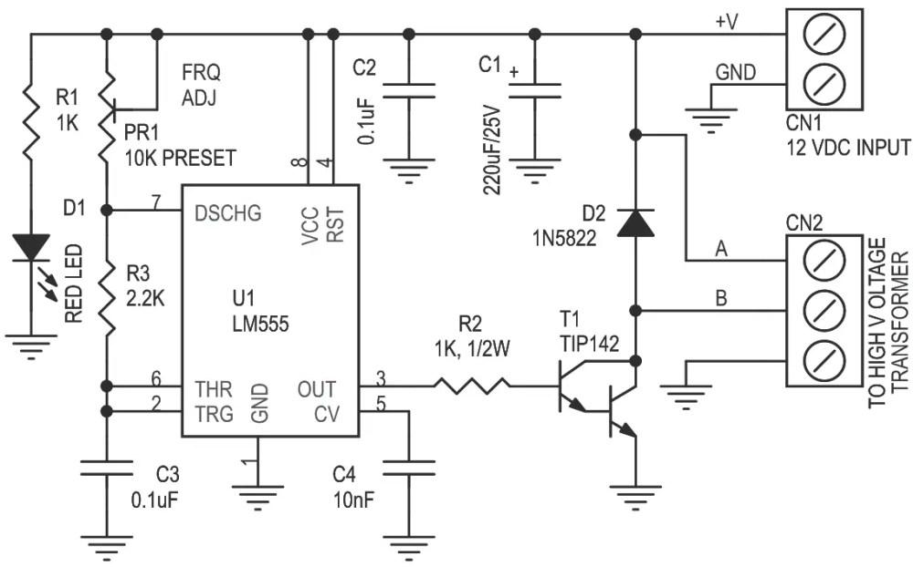 medium resolution of tesla coil eht driver circuit using lm555 timer 4