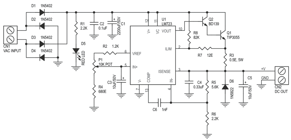 medium resolution of variable power supply 2 6v to 24v dc 1amp using lm723 3 circuit lm723 variable power supply electronic project circuit diagram
