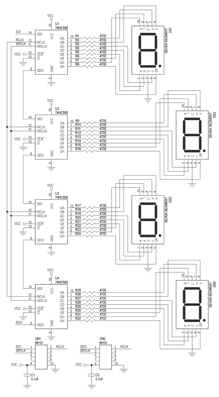 4 Digit 7-Segment Display using 74HC595 Serial Shift