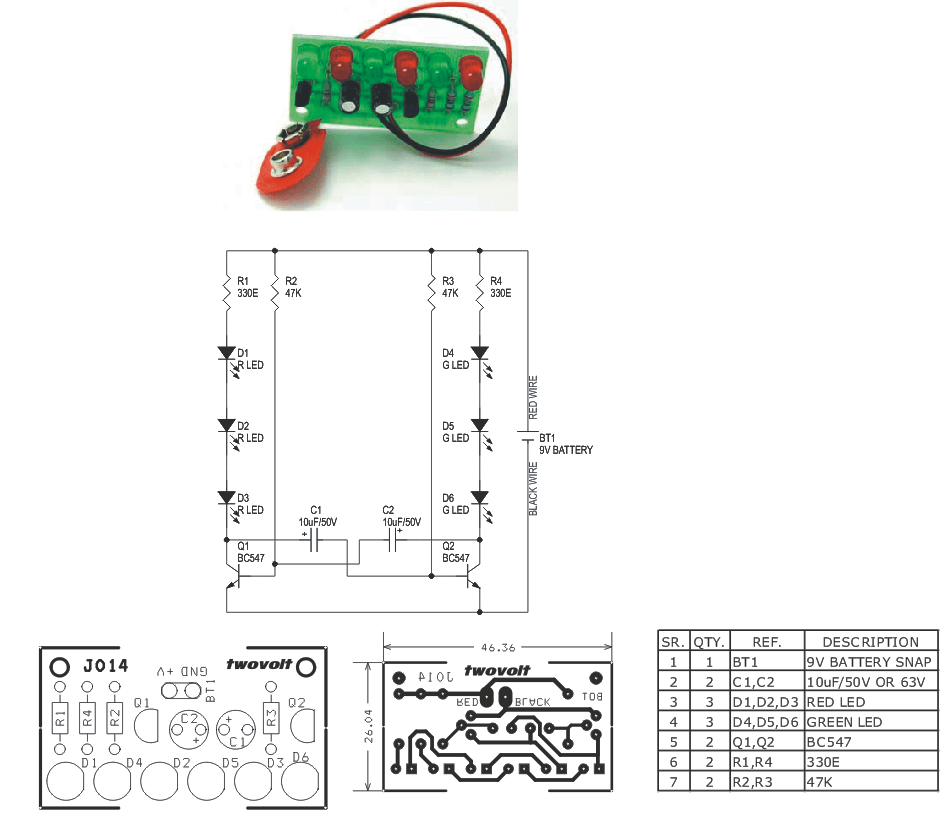 led wiring diagram 9v use case library management 6 leds flasher circuit using two bc547 transistors ideas i