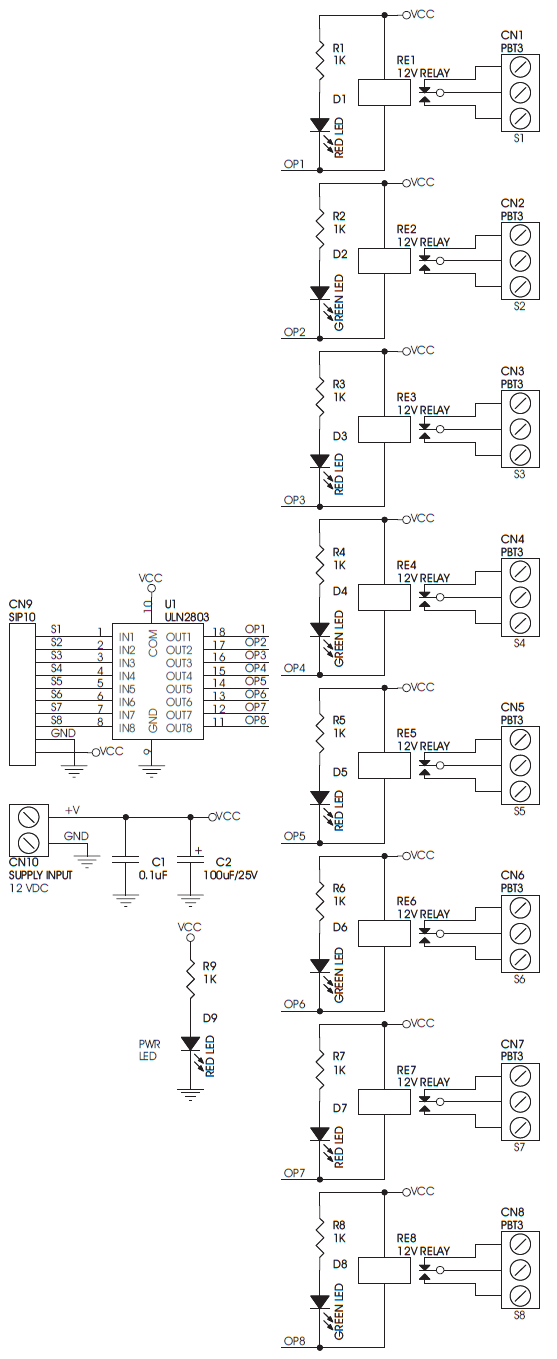 8 Channel Relay Driver Using ULN2803 & Sugar Cube Relay