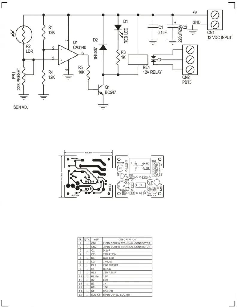 Light Sensitive Switch Using CA3140 Op-Amp & Relay