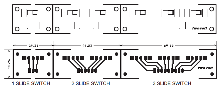 Slide Switch Single Dual & Three PCB Layout Bottom Layer