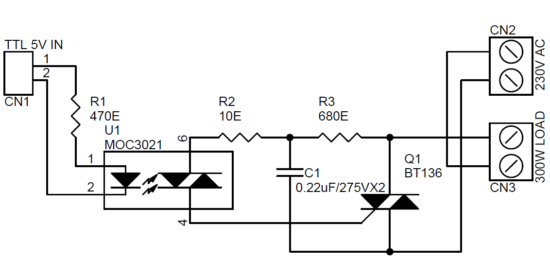 SOLID STATE RELAY USING MOC3021 & BT136 TRAIC CIRCUIT