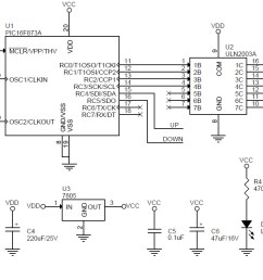 unipolar stepper motor driver schematic using pic16f873 and  [ 1249 x 717 Pixel ]
