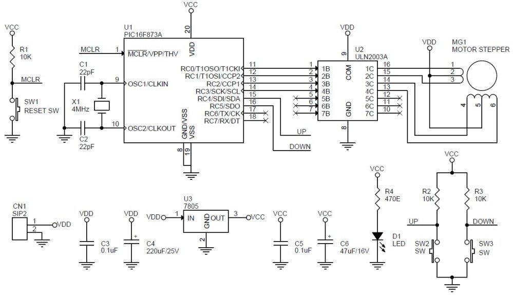 medium resolution of unipolar stepper motor driver schematic using pic16f873 and