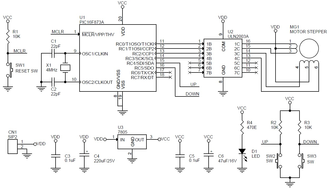 hight resolution of unipolar stepper motor driver schematic using pic16f873 and