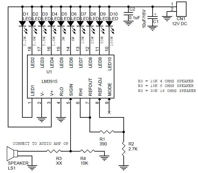 BAR-GRAPH AUDIO AMPLIFIER OUTPUT POWER METER USING LM3915