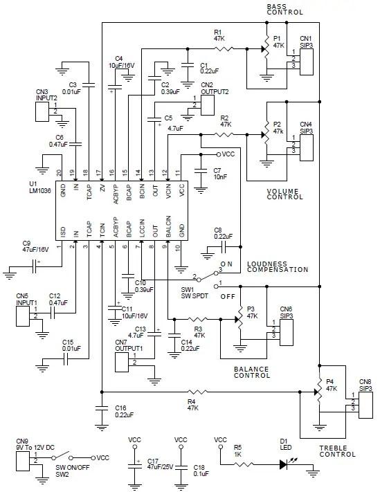 Dual DC Operated Tone/Volume/Balance Circuit Using LM1036