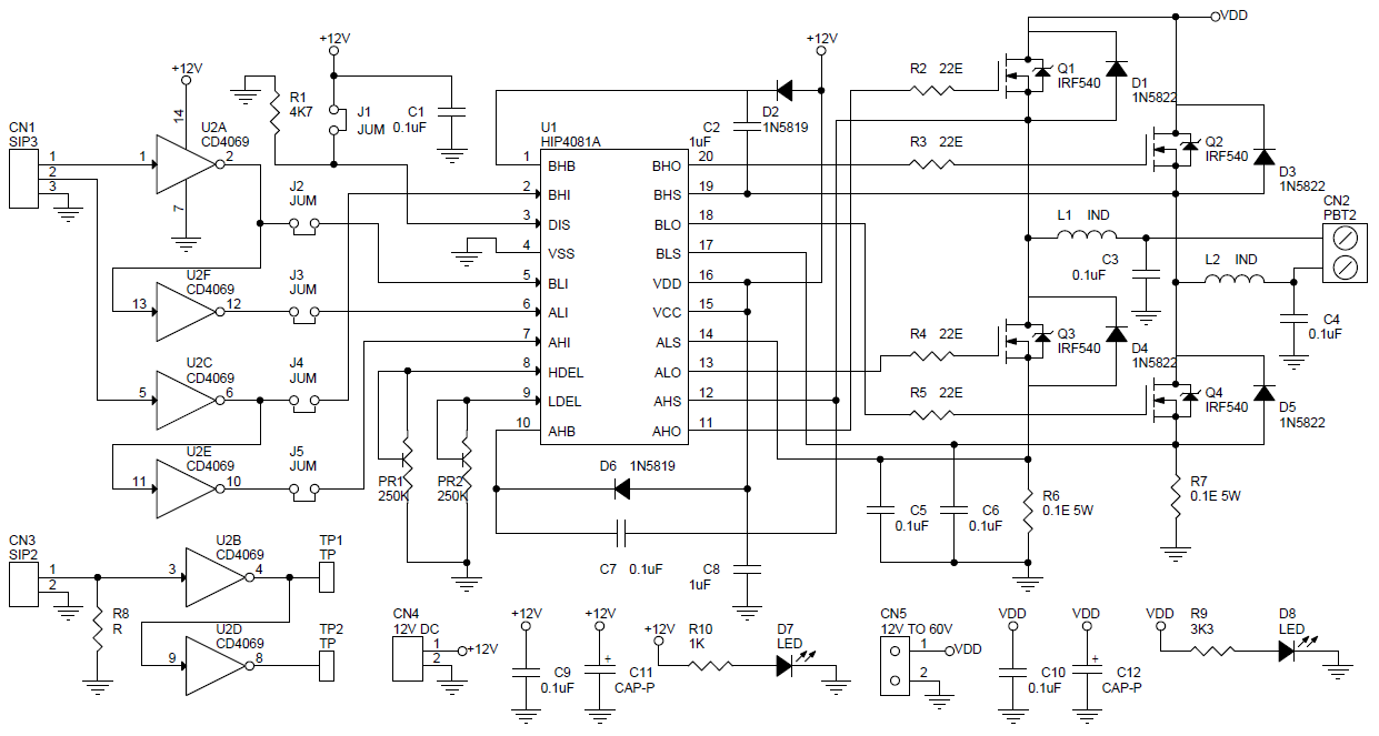 hight resolution of h bridge using hip4081 4 n channel mosfets