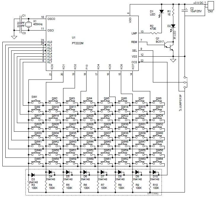 64 Key Infra Red Remote Transmitter Circuit & PCB Using
