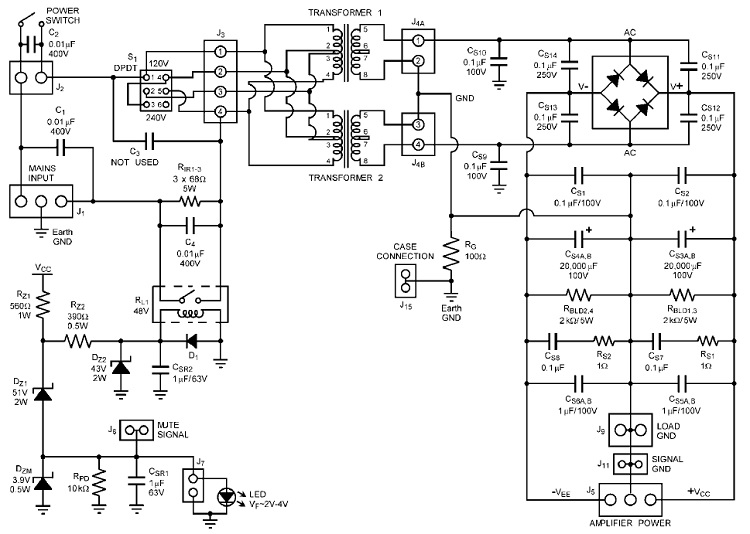 power supply and mute control circuit