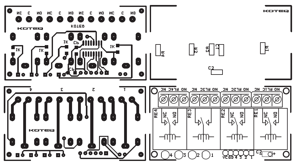 4 Channel Compact Relay Board Using SMD Components ULN2003