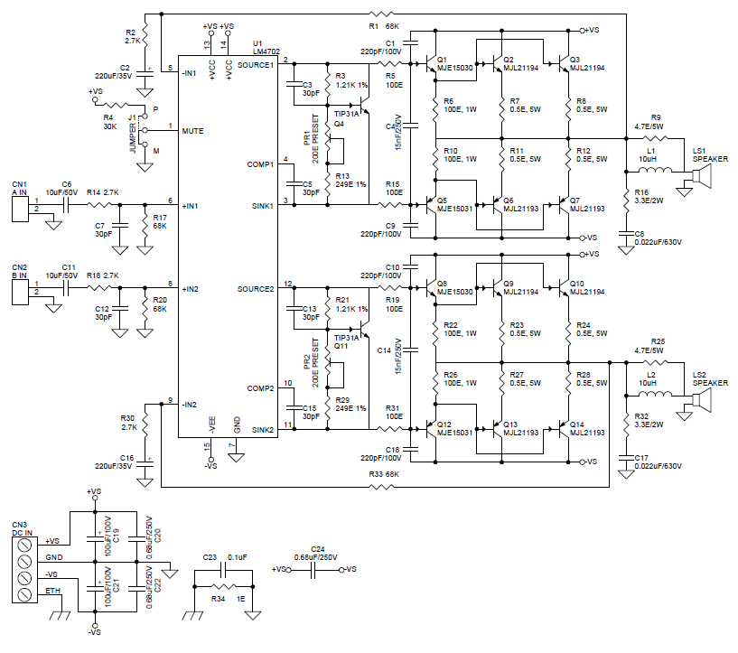 lm4702 power amplifier circuit schematic