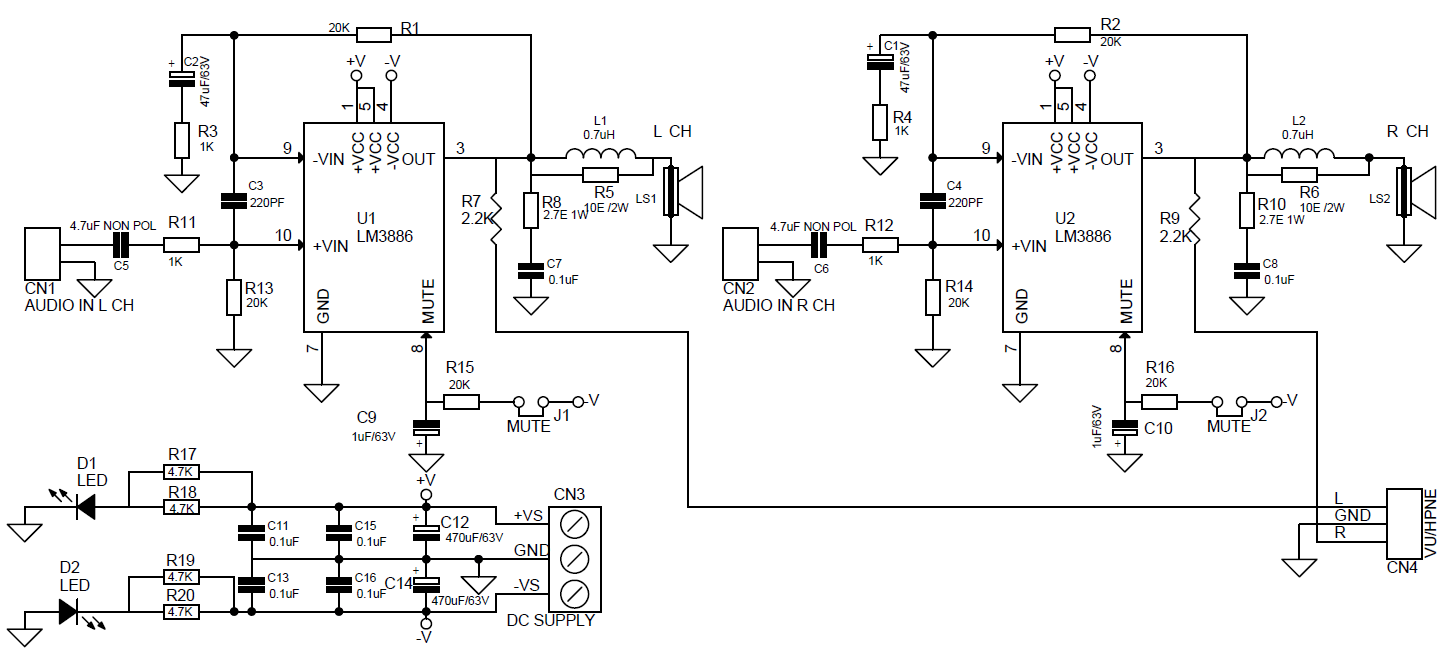 68W High Performance Stereo Audio Amplifier Using LM3886