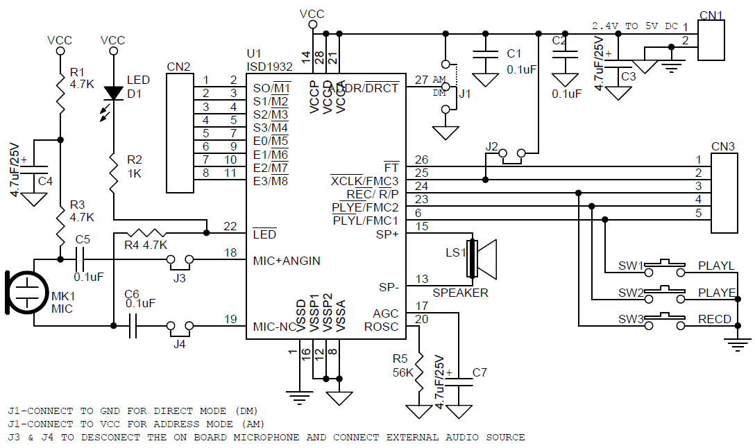 Multiple-Message RecordPlayback Module Using ISD1932