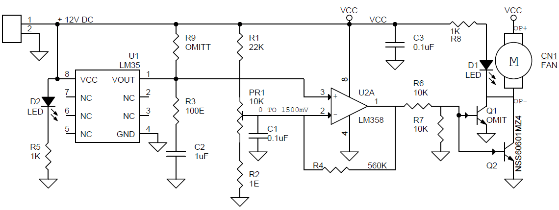 Heat Activated Cooling Fan Controller Circuit Using LM393