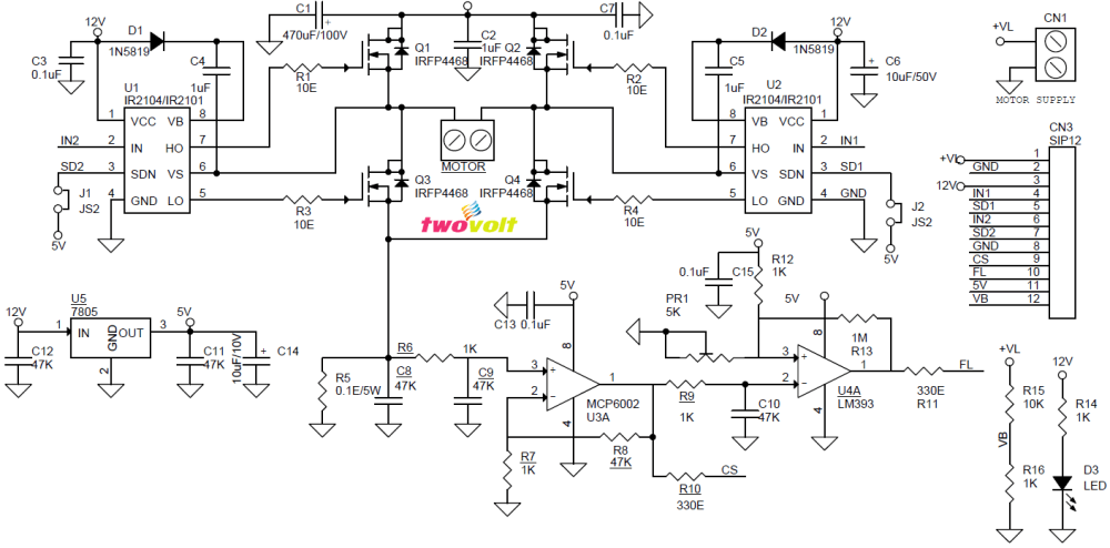 medium resolution of  pin 7 shutdown input if ir2104 used pin 8 gnd pin 9 current feed back output pin 10 fault over current output pin 11 5v dc output pin 12 voltage