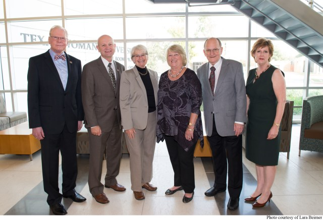 From left: TWU Ambassador Chad Wick, TWU Provost Roberty Neely, Sharon Denham (Doswell Endowed Chair of Nursing - Dallas), Beverly and Ken Fricke (Nephew of Mr. Doswell and his wife) and Stephanie Woods, associate dean of Nursing for the TWU Doswell College of Nursing in Dallas.