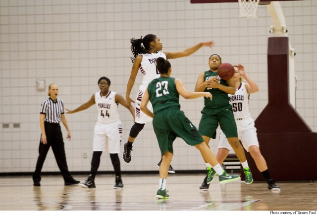 TWU Pioneers attack the ball in a game from last season.