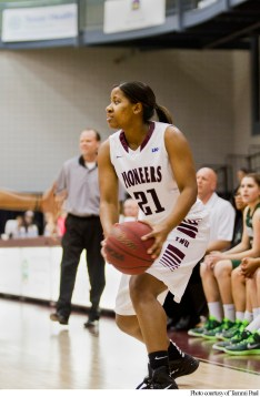 Pioneer guard Toree Mason is pictured playing last season prior to graduation from TWU.