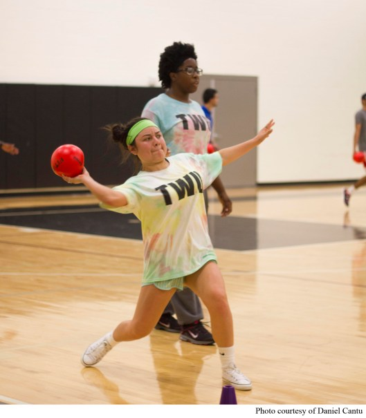 TWU students enjoy an intense game of intramural dodgeball.