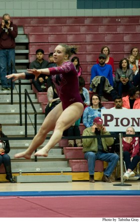 Alderman's performance at gymnastics meets has earned praise for her skill.