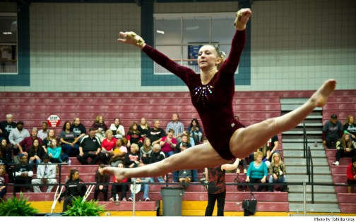Alyssa Kelly performs her routine during the floor exercise at a recent gymnastics meet.