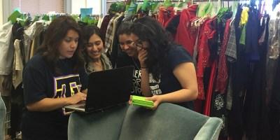 Junior and Senior Fashion Design and Fashion Merchandising majors Adriana Gonzalez,  Alyssa Arguello, Janet Najera and Andrea Rodriguez line up pieces for the show.