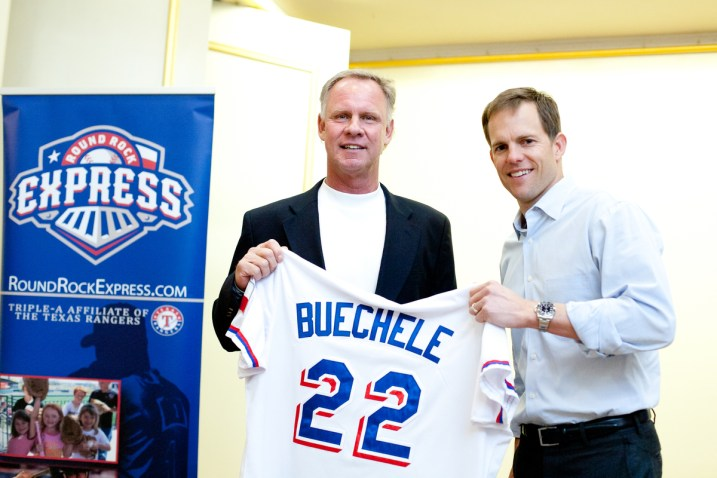Round Rock Express Manager Steve Buechele with Express CEO Reese Ryan