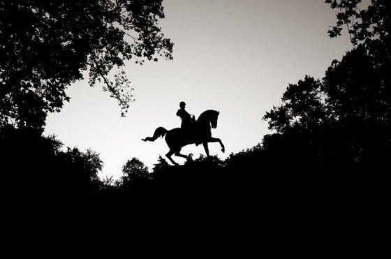 Un héroe cabalga al atardecer sobre los árboles del parque Giardini Margherita. Supongo que es Garibaldi, siempre es Garibaldi.