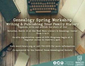 2017 Waco Writing Publishing Your Family History workshop