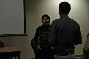 Ana Cantu engages with students after her presentation Wednesday night.