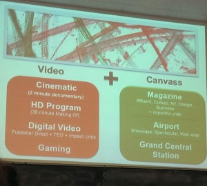 A slide provided by Graf showing the use of two different creative sources to make a successful advertisement