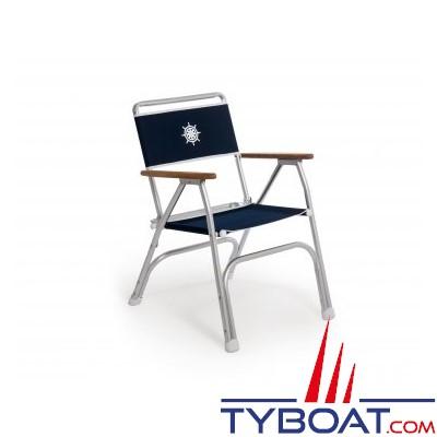forma fauteuil pliant pour bateau en aluminium et accoudoirs en teck bleu