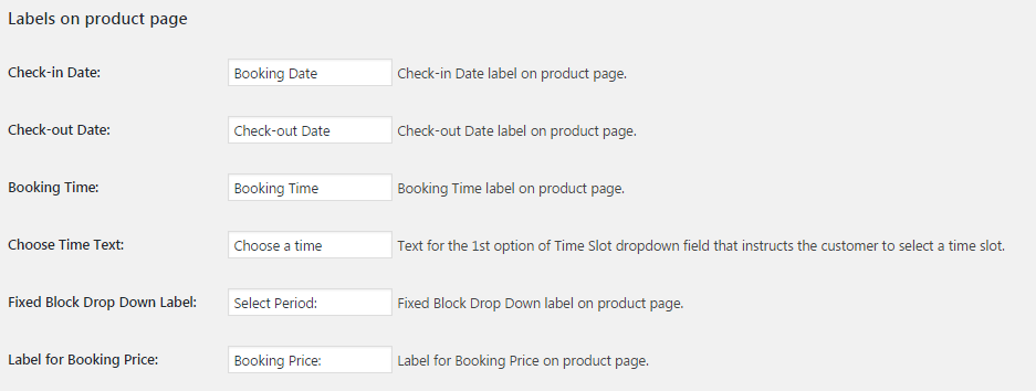 Modify booking labels on Product page as per your business