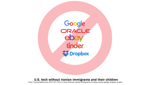 U.S. tech without Iranian immigrants: No eBay, Oracle, Google, DropBox, Tinder