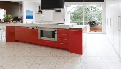 Kitchen interiors made with terrazzo