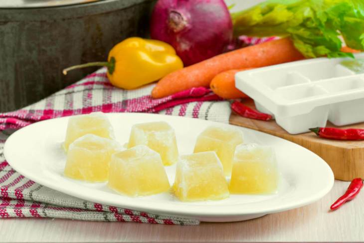 Homemade frozen chicken vegetable broth ice | Brilliant Ice Cube Tray Hacks You Can Do At Home