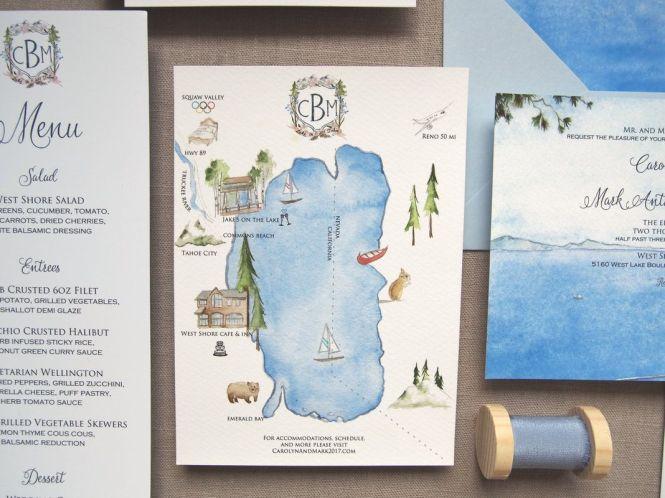 Lake Tahoe Custom Invitations By Tying The Knots