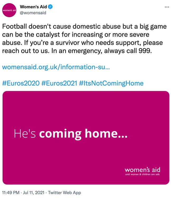 Women's Aid shared a Tweet linking victims to their support pages after England's loss (Credit: Twitter)
