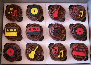 cupcakes 80s choc red yellow black