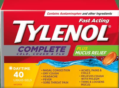 TYLENOL® Complete Cold, Cough & Flu Plus Mucus Relief Liquid Gels ...