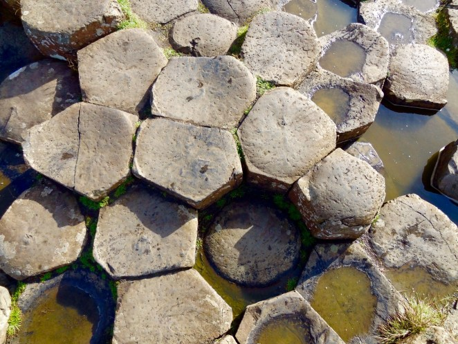 Ariel view of the famous polygonal stones of the Giant's Causeway, Northern Ireland