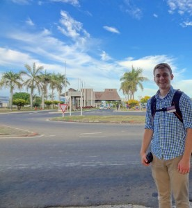 Tyler Cramer Standing outside the Nadi, Fiji Airport
