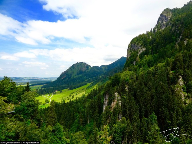 A view of vibrant green mountains in Bavaria, Germany