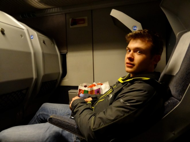 Reclining chairs on German night train.