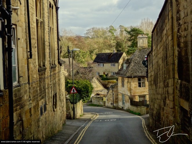 Steep english road in England