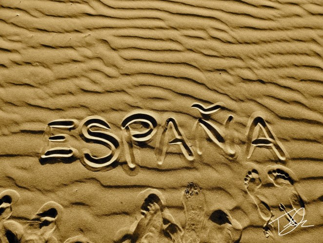 España written in the sand
